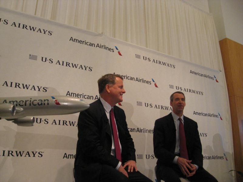 U.S.Airways CEO Doug Parker and American Airlines CEO Tom Horton. Parker will become CEO of the larger, merged airline, Horton will become Chairman and will eventually step down.