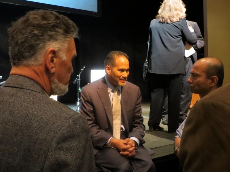 Rep. Coleman talks with audience members following a mental health forum in Dallas on Feb. 5.