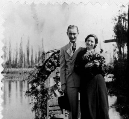 Newlyweds Lyndon B. Johnson and Lady Bird Johnson pose in a boat on the Floating Gardens in Xochimilco, Mexico on their honeymoon in November 1934.
