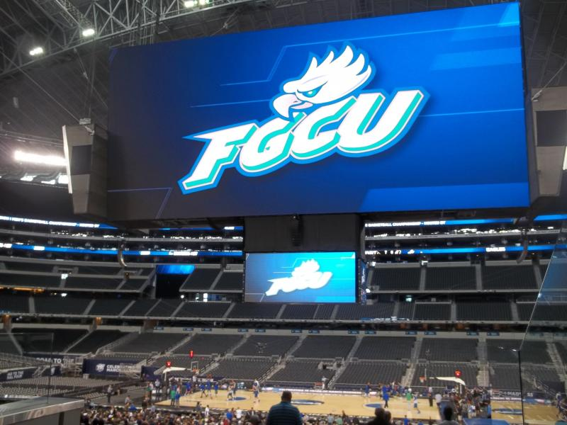 Sweet 16 contender Florida Gulf Coast University saw its name up in lights Thursday during practice at Cowboys Stadium.