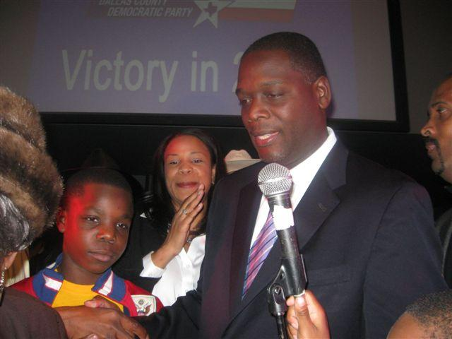 Craig Watkins on Election Night 2010, winning a second term by a slim margin.
