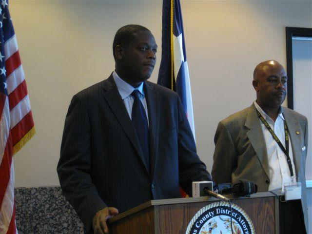 D.A. Craig Watkins, at lecturn during a press conference.  He faces a contempt of court charge today.