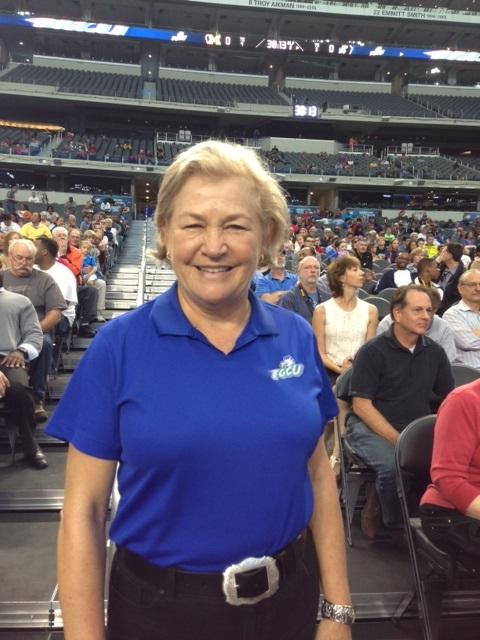 Joan McDonald has rooted on FCGU for years and made the trip to North Texas from Fort Myers, Florida.