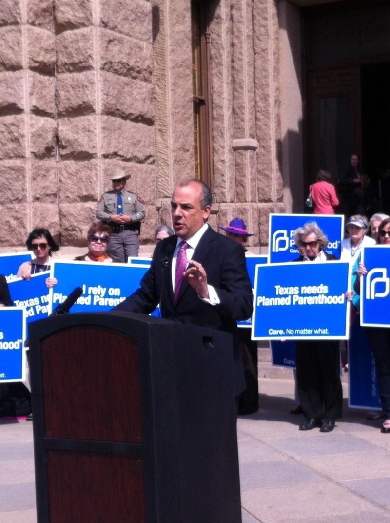 Rep. Chris Turner speaks a Planned Parenthood rally at state capitol.