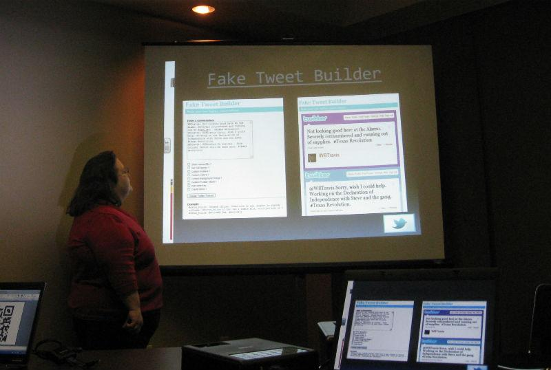 Education Technology Specialist Kim Boyd demonstrating to teachers how to use a fake twitter page.
