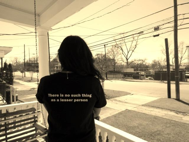 Hiba Ibad, a junior at SMU, looks out from Martin Luther King Jr.'s porch in Montgomery.