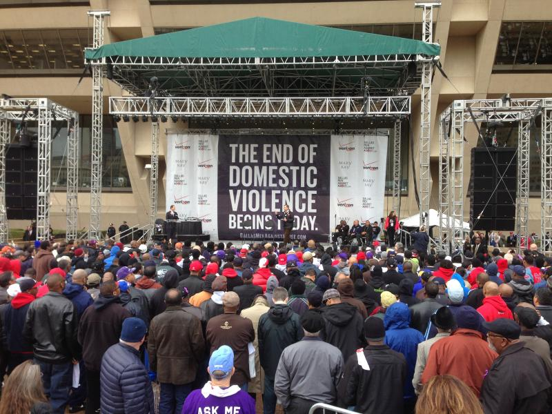 Dallas Mayor Mike Rawlings fires up the crowd at the Men Against Abuse Rally.