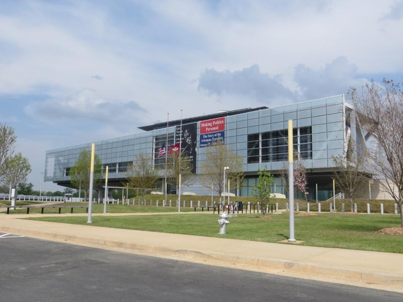 The Clinton library building sits on the banks of the Arkansas River and is credited with drawing investment to a blighted part of Little Rock.