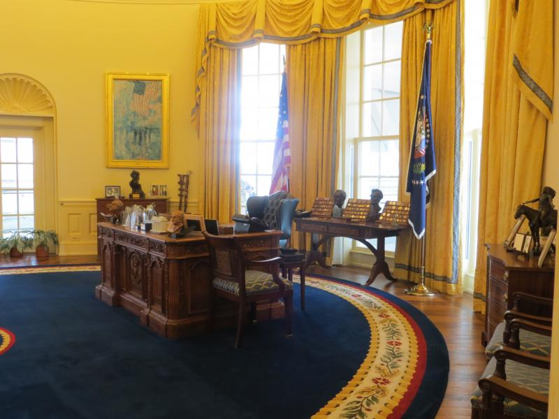 The replica of the  oval office is the most popular exhibit at Clinton Presidential Center in Little Rock, Arkansas.