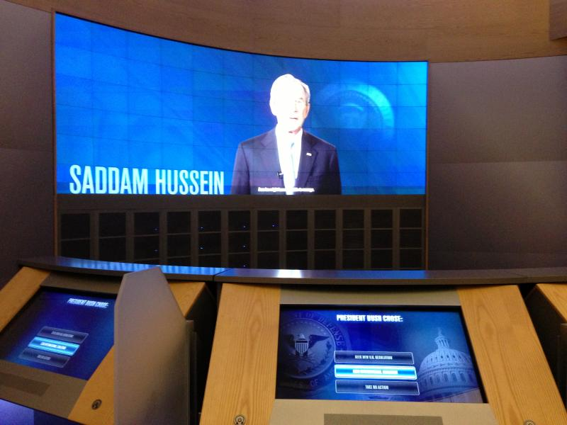 "Inside the ""Decision Points Theatre"" visitors are invited to work through four noteworthy events of the Bush Presidency: Hurricane Katrina, the Iraq invasion, the troop surge in Iraq and the economic crisis."
