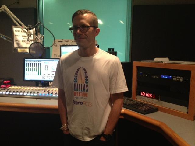 KERA's Jeff Whittington wears one of his race shirts in remembrance of yesterday's tragedy in Boston.