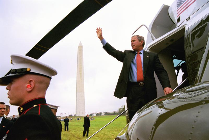 One of the digital photographs of President George W. Bush from the White House Photo Archive. In it, Bush waves as he boards Marine One en route to Minnesota, June 19, 2003.