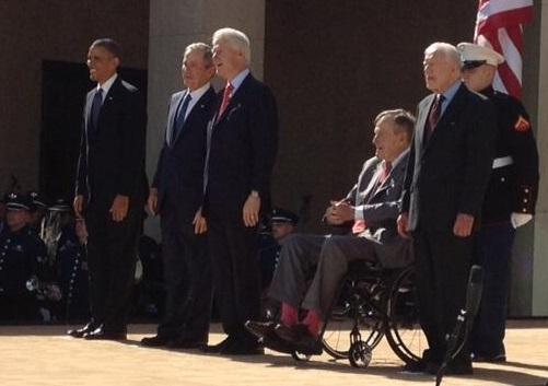 The five living presidents (from left): Barack Obama, George W. Bush, Bill Clinton, George H.W. Bush and Jimmy Carter.