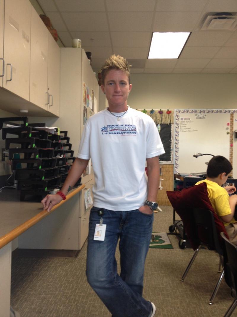 Ashley Jones, a Richardson ISD teacher, wore her race shirt in her classroom.