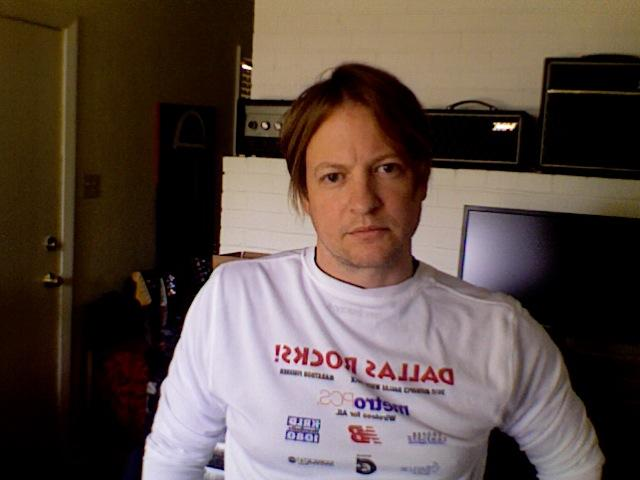 Toby Pipes of the bands Little Black Dress, Calhoun and Deep Blue Something, wears his Dallas Rock 'n Roll Half Marathon shirt in remembrance of Monday's events in Boston.