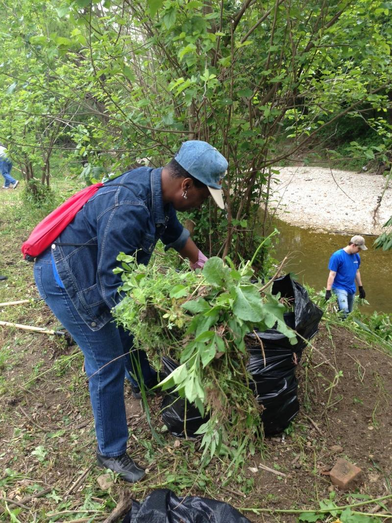 Bertha Bell helped clean up the Trinity River Corridor on Friday.