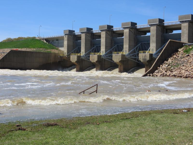 Water is released from the Hugo Lake Dam into the Kiamichi River in Oklahoma.