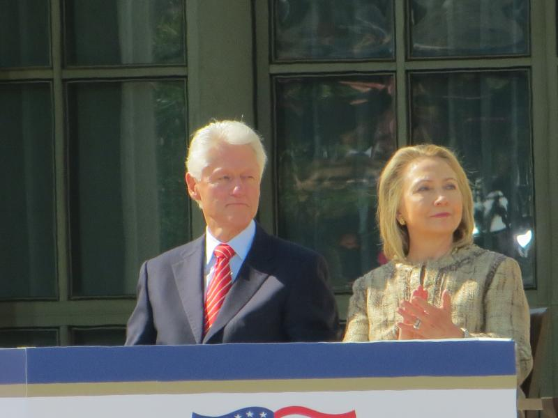 Former president Bill Clinton congratulated the Bush Center on its democratic Center's Decision Points Theater. Hillary Clinton was present for the day just after stepping down as Secretary of State.