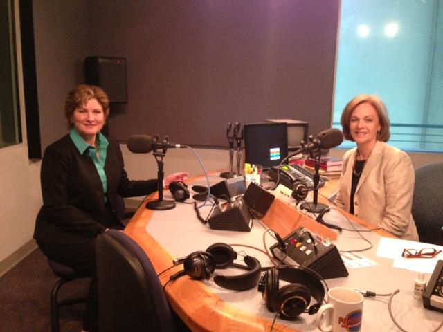 Former Undersecretary of State and Bush adviser Karen Hughes with KERA's Shelley Kofler