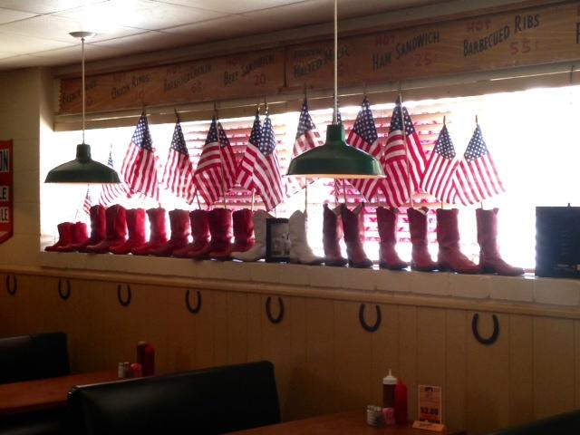 Peggy Sue's owners added flags to boots for a little extra flare.