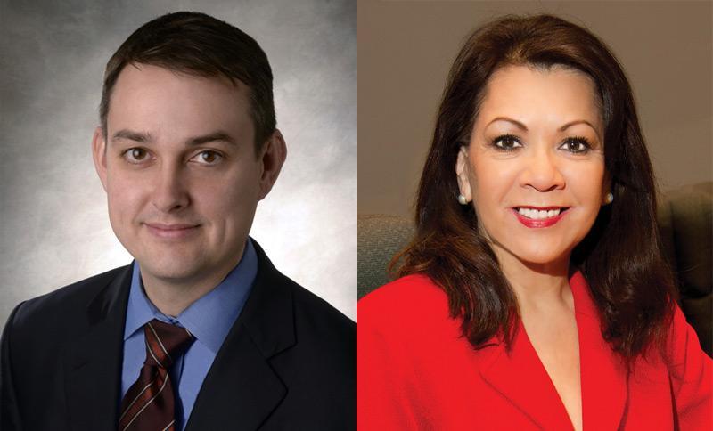 Dallas District 1 council candidates Scott Griggs (left), and Delia Jasso