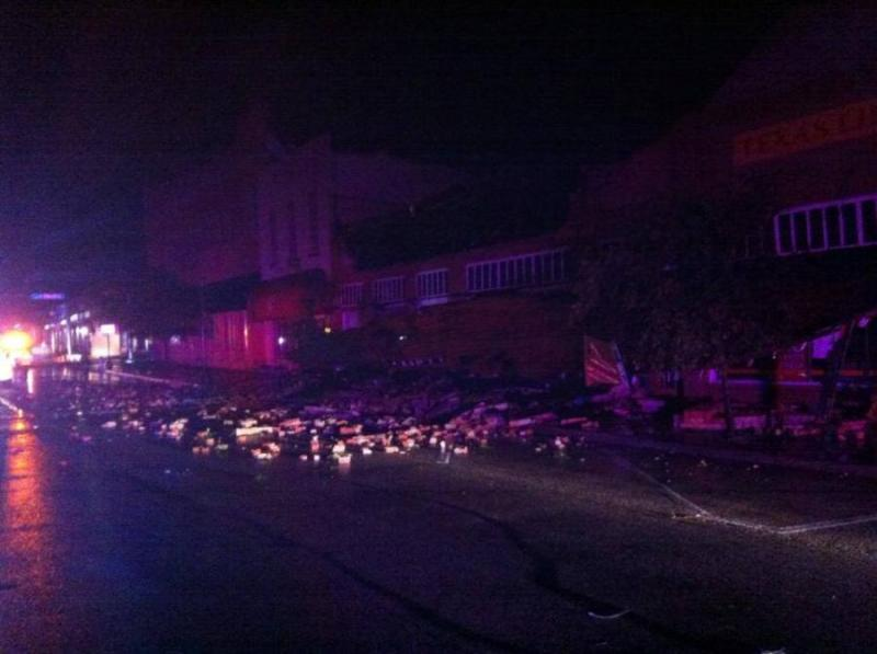 The central downtown area in Ennis sustained a lot of storm damage. This is the 100 block of W. Ennis Ave.