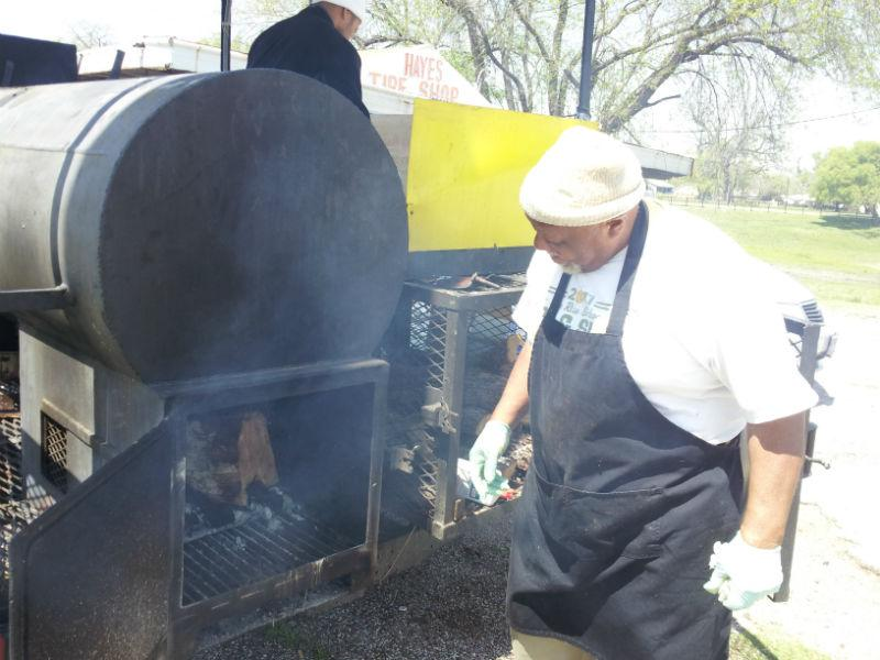 Clyde uses mostly Pecan Wood to smoke his meats.