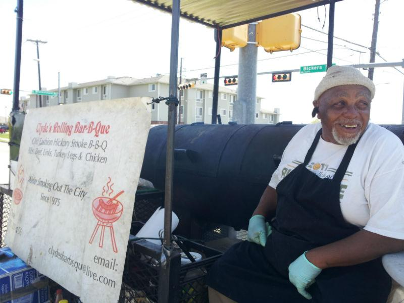 Clyde Biggins sells his barbecue at this intersection in West Dallas.