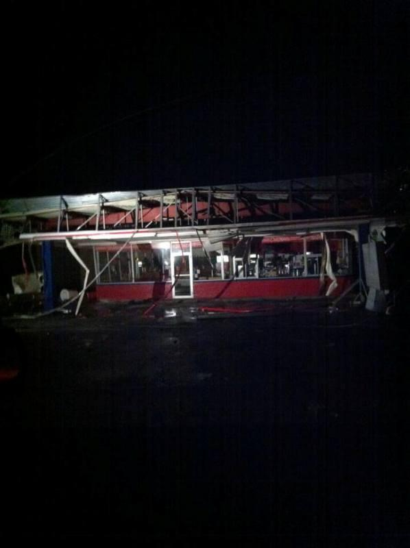 The Ennis Dairy Queen; police officials estimate several dozen buildings were damaged.