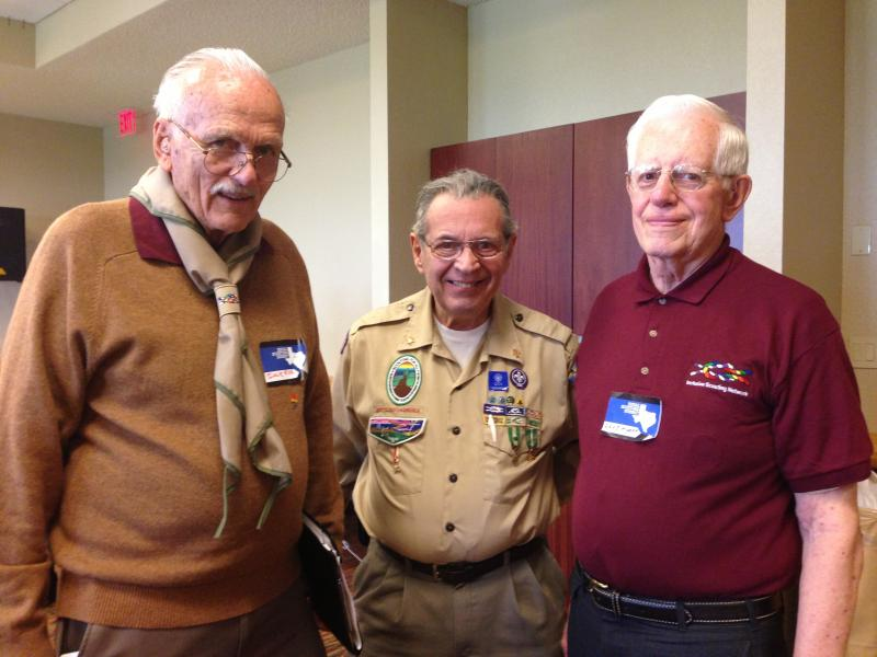 Former Scouts Dave Rice, Howard Menzer, and Dave Knapp at the Great Wolf Lodge. All are members of Scouts for Equality.