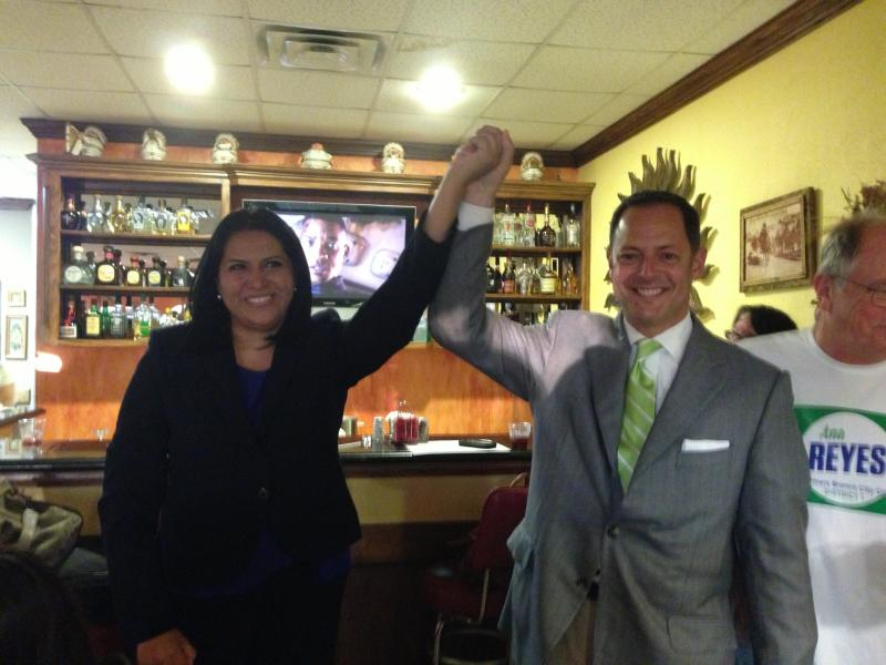Ana Reyes won the newly-created district one council seat in Farmers Branch. She celebrated at Coquitas restaurant with State Representative Rafael Anchia.