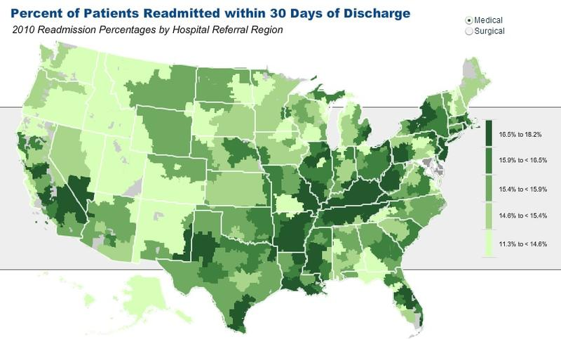 This map shows variation in readmission rates for Medicare patients after they are discharged from the hospital.