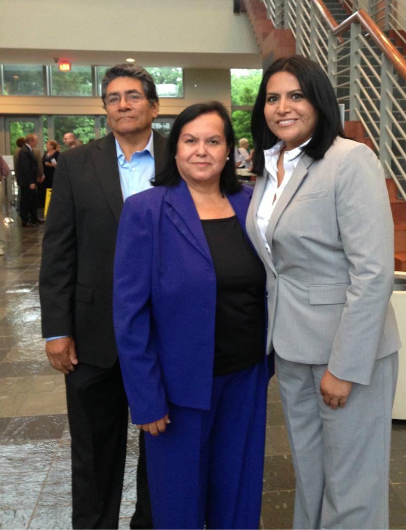 Ana Reyes (right) with her parents, Antonio and Maria, at Farmers Branch City Hall for the swearing in.