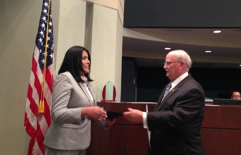 Ana Reyes with Farmers Branch Mayor Bill Glancy.