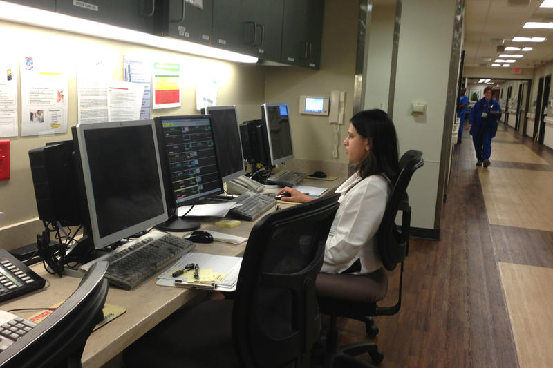 Jessica Shah, MD at Texas Health Resources HEB, will be able to use the computers at this nursing station to see a list of patients who have been identified as high-risk of readmission.