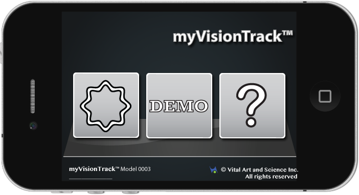 The MyVisionTrack's main screen.