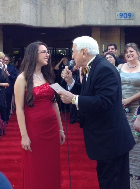 Best Supporting Actress Nominee Mercedes Arndt gets interviewed on the red carpet.