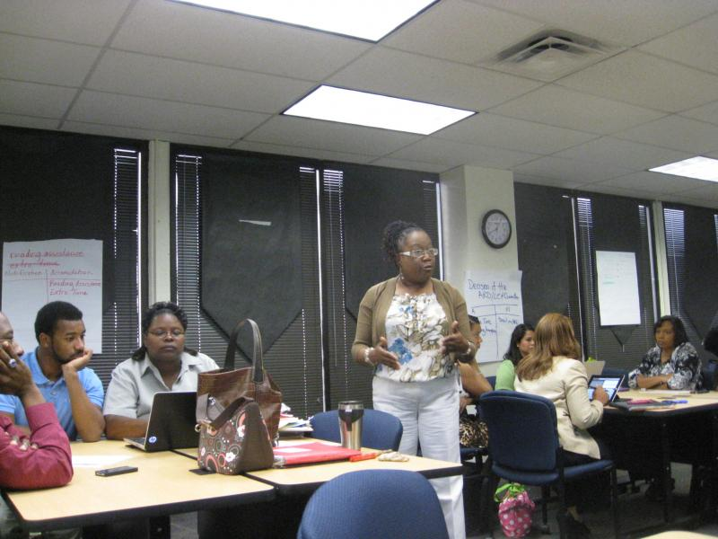 Veteran DISD teacher and Fellow Pam Ralston, standing, in Leadership Academy class