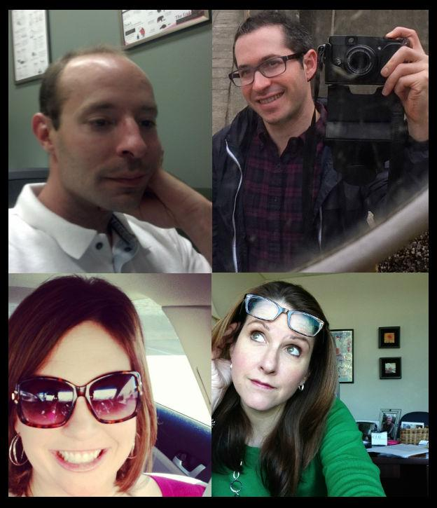 Clockwise, from top left: selfies by Jordan Frith, Gabriel Ritter, Erin K. Freeman and Krys Boyd.
