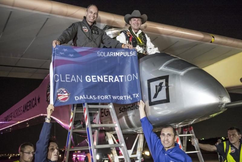 Bertrand Piccard joined pilot Andre' Borschberg as he completed the Phoenix-Dallas leg of the trip.