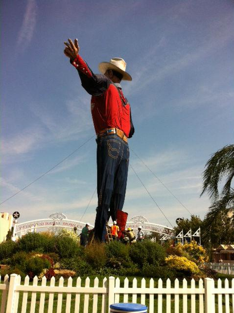 "Big Tex at the start of the 2012 State Fair.  Big Tex Plaza is also getting a makeover in anticipation of the new and improved ""Tex""."