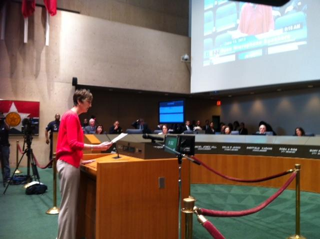 Cece Cox, CEO of Dallas Resource Center, urges city council members to act on marriage equality, pointing out that Dallas has the sixth-largest LBGT community in the U.S.