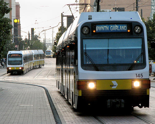 DART trains traveling through downtown Dallas