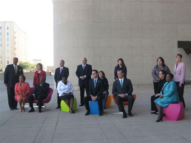 The 2011 Dallas City Council poses on City Hall Plaza.
