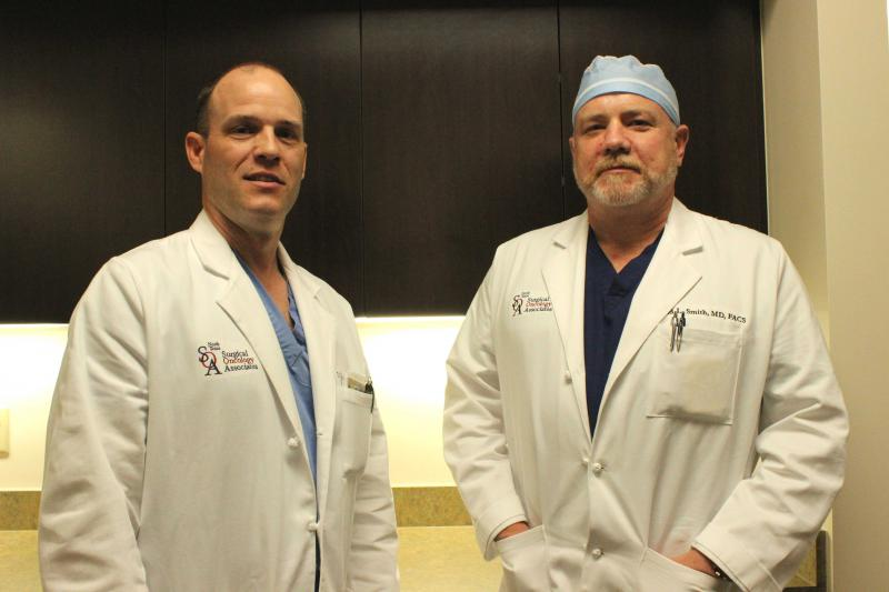 Surgical oncologists Dr. Thomas LeVoyer (left), and Dr. David Smith performed McCool-Heimsath's surgery at the Medical Center of Plano.