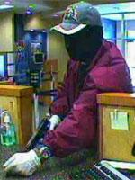 Bank surveillance photo of the suspect the FBI named the Mesh Mask bandit.