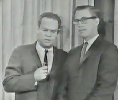 WFAA's Jay Watson stands, shakily, with Jerry Haynes (Mr. Peppermint) just after Watson interrupted programming with news that President John F. Kennedy had been shot in Dallas.