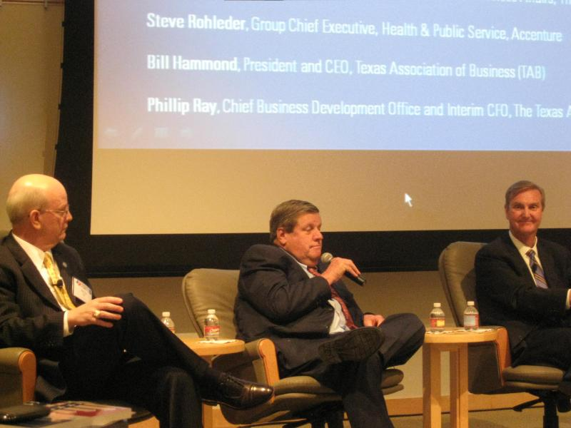 TAB President/CEO Bill Hammond, with microphone, at higher education forum in Dallas