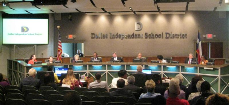 Dallas school board in session where it passed $1.2 billion budget that funded Miles's programs and pays 2% raises