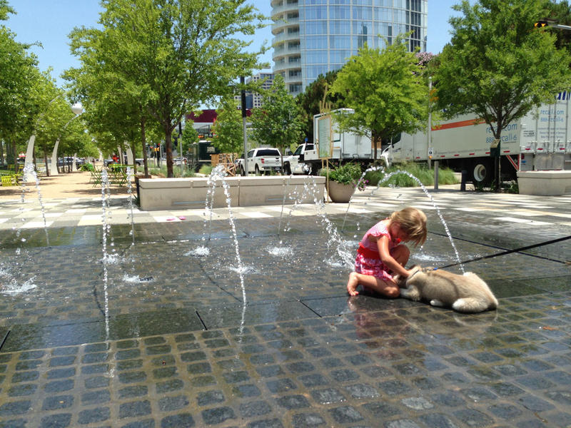 Avery Hubbard, 5, stays cool playing in the fountain at Klyde Warren Park with a puppy named Stark.